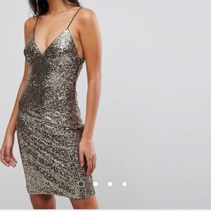 Club L Cami Strap All Over Sequin Dress